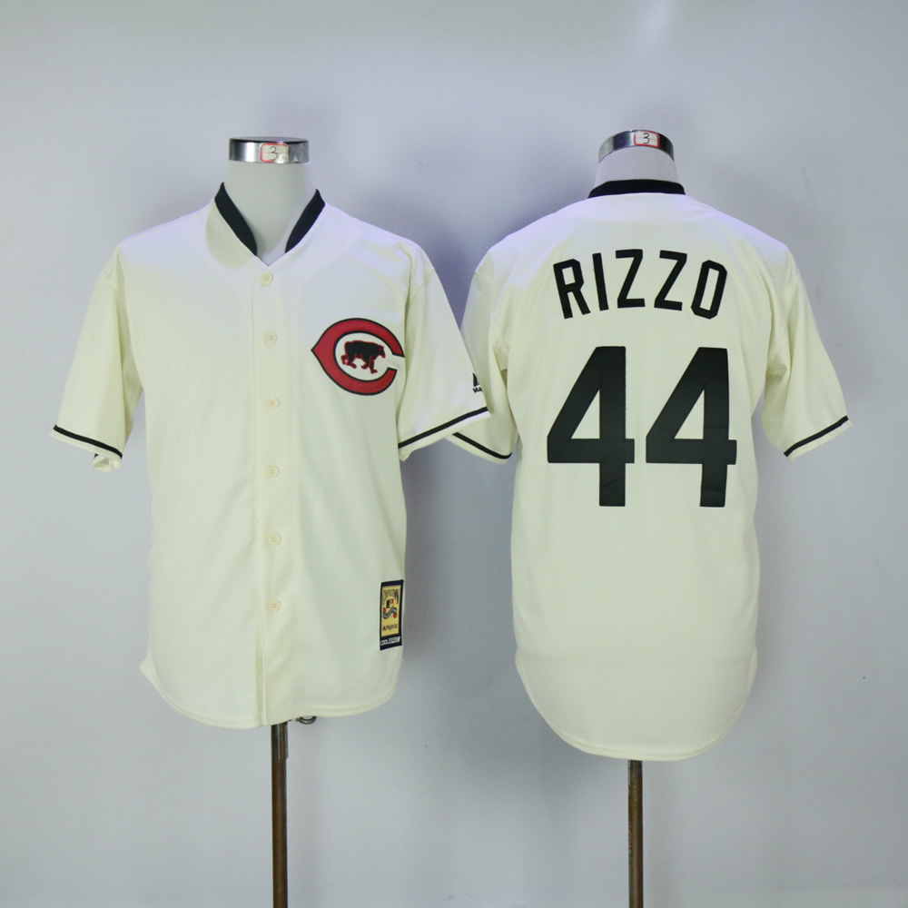Men Chicago Cubs 44 Rizzo Cream Throwback MLB Jerseys