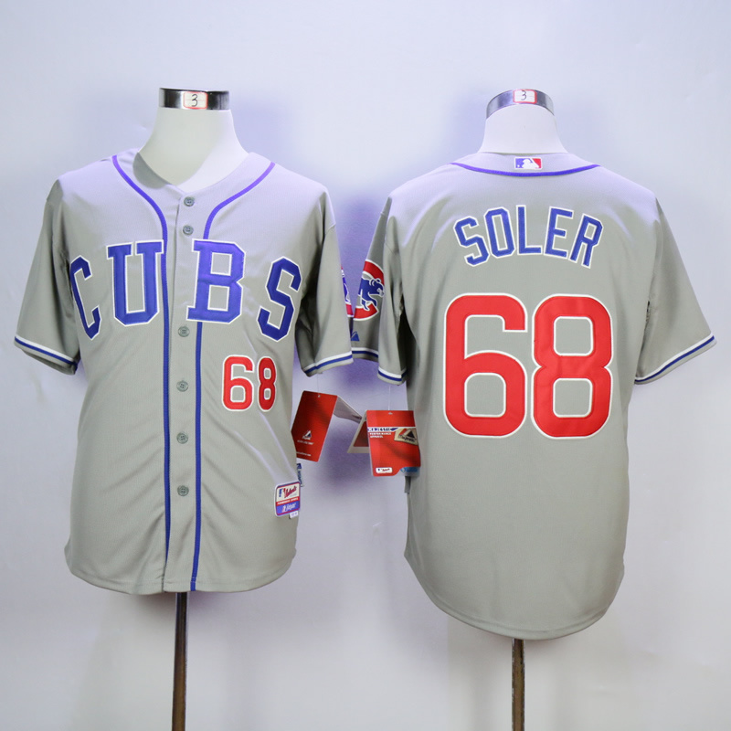Men Chicago Cubs 68 Soler Grey CUBS MLB Jerseys