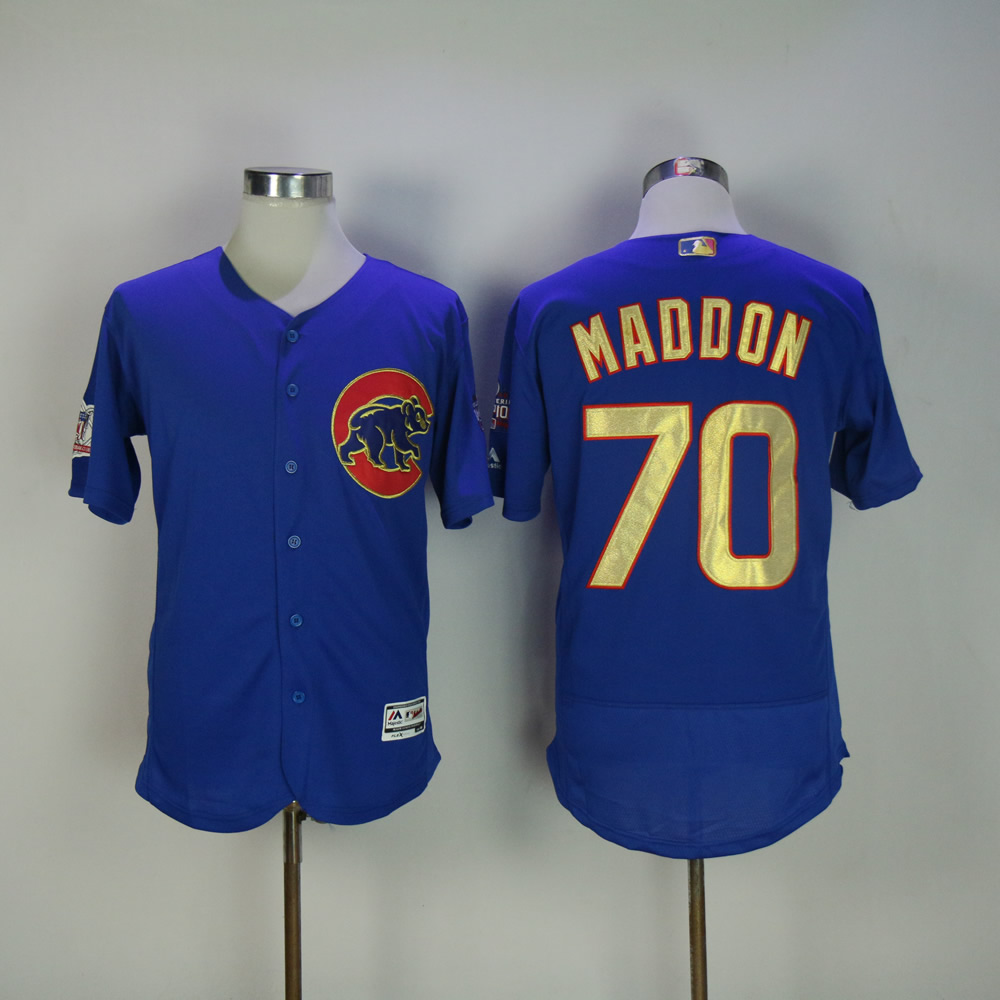 Men Chicago Cubs 70 Maddon Blue Champion Edition MLB Jerseys