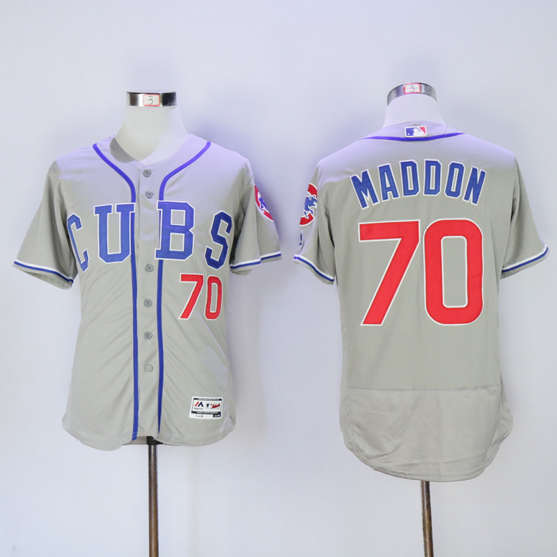 Men Chicago Cubs 70 Maddon Grey CUBS MLB Jerseys