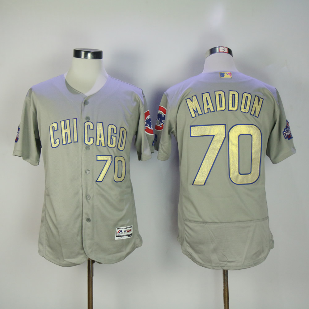 Men Chicago Cubs 70 Maddon Grey Champion MLB Jerseys