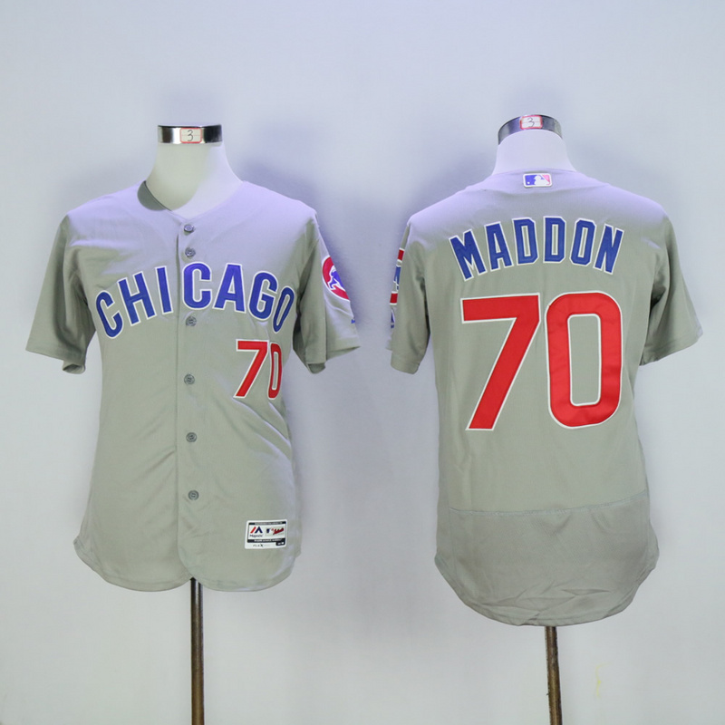 Men Chicago Cubs 70 Maddon Grey Chicago Edition MLB Jerseys