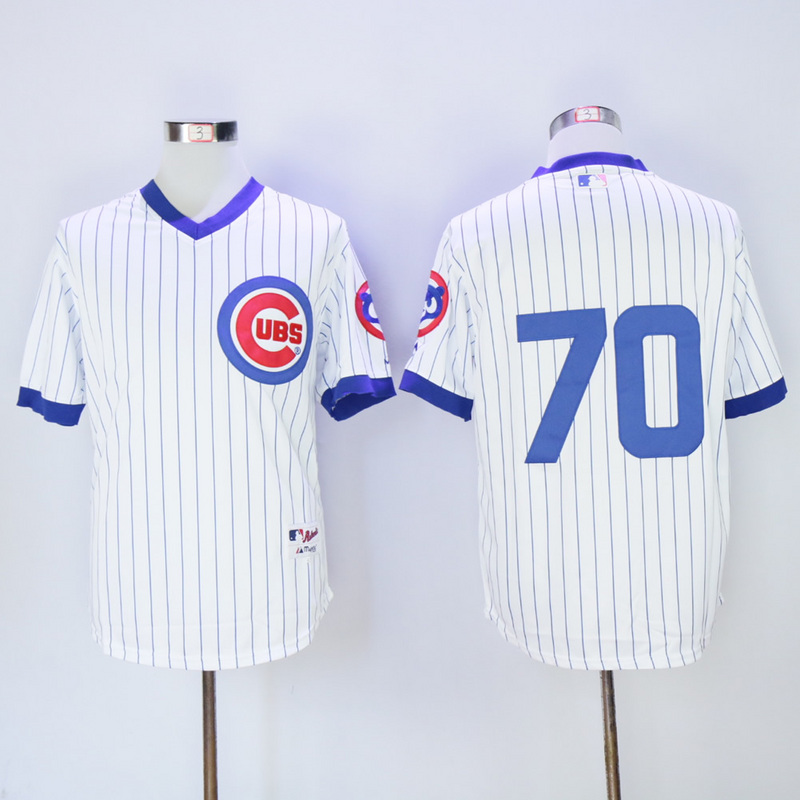 Men Chicago Cubs 70 Maddon White Throwback 1988 MLB Jerseys