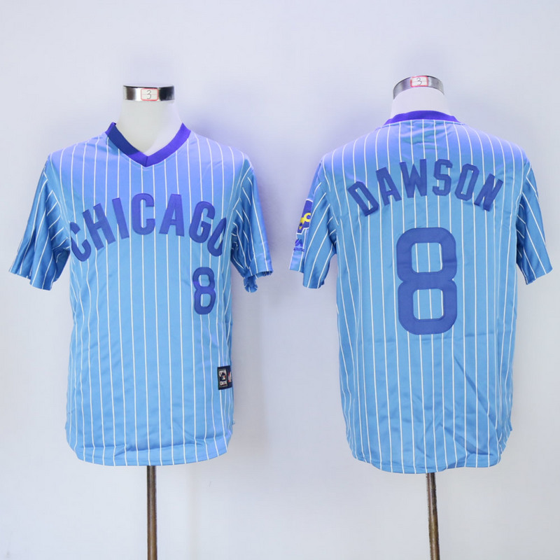 Men Chicago Cubs 8 Dawson Blue Stripe Throwback MLB Jerseys