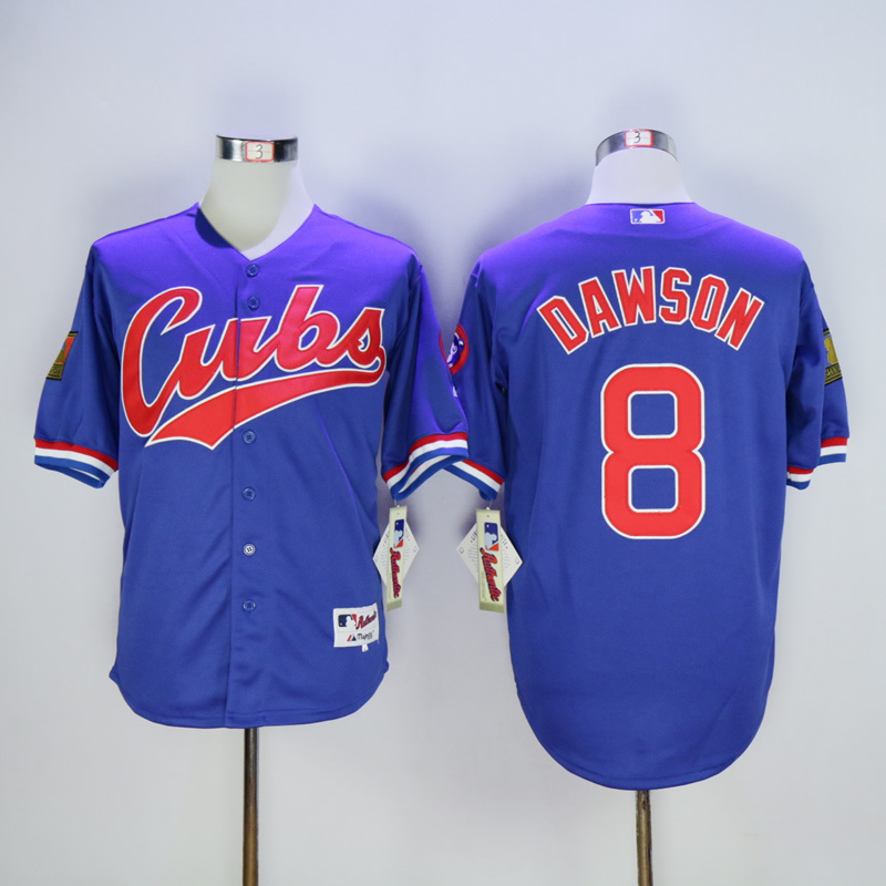 Men Chicago Cubs 8 Dawson Blue Throwback 1994 MLB Jerseys