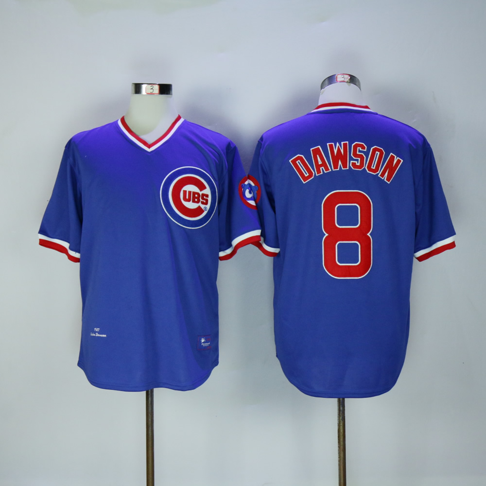 Men Chicago Cubs 8 Dawson Blue Throwback MLB Jerseys