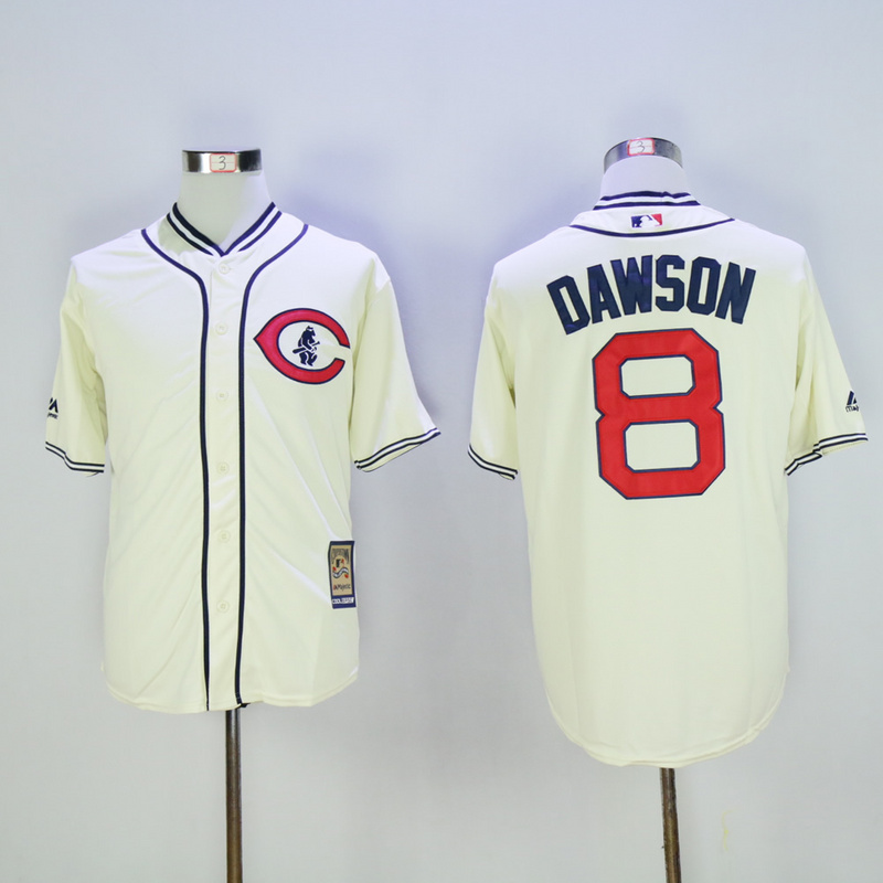 Men Chicago Cubs 8 Dawson Cream Throwback 1929 MLB Jerseys