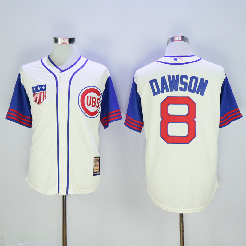 Men Chicago Cubs 8 Dawson Cream Throwback 1942 MLB Jerseys