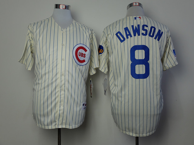 Men Chicago Cubs 8 Dawson Cream Throwback 1969 MLB Jerseys
