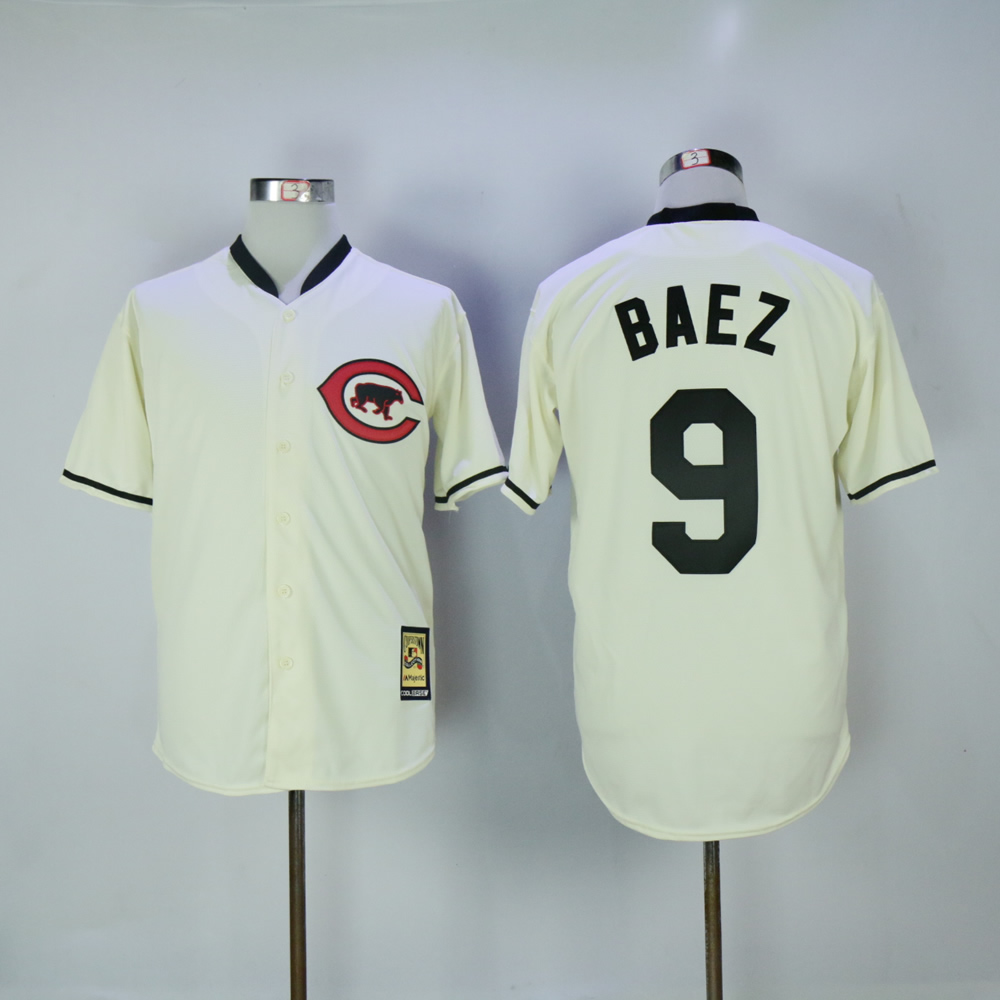 Men Chicago Cubs 9 Baez Cream Throwback MLB Jerseys