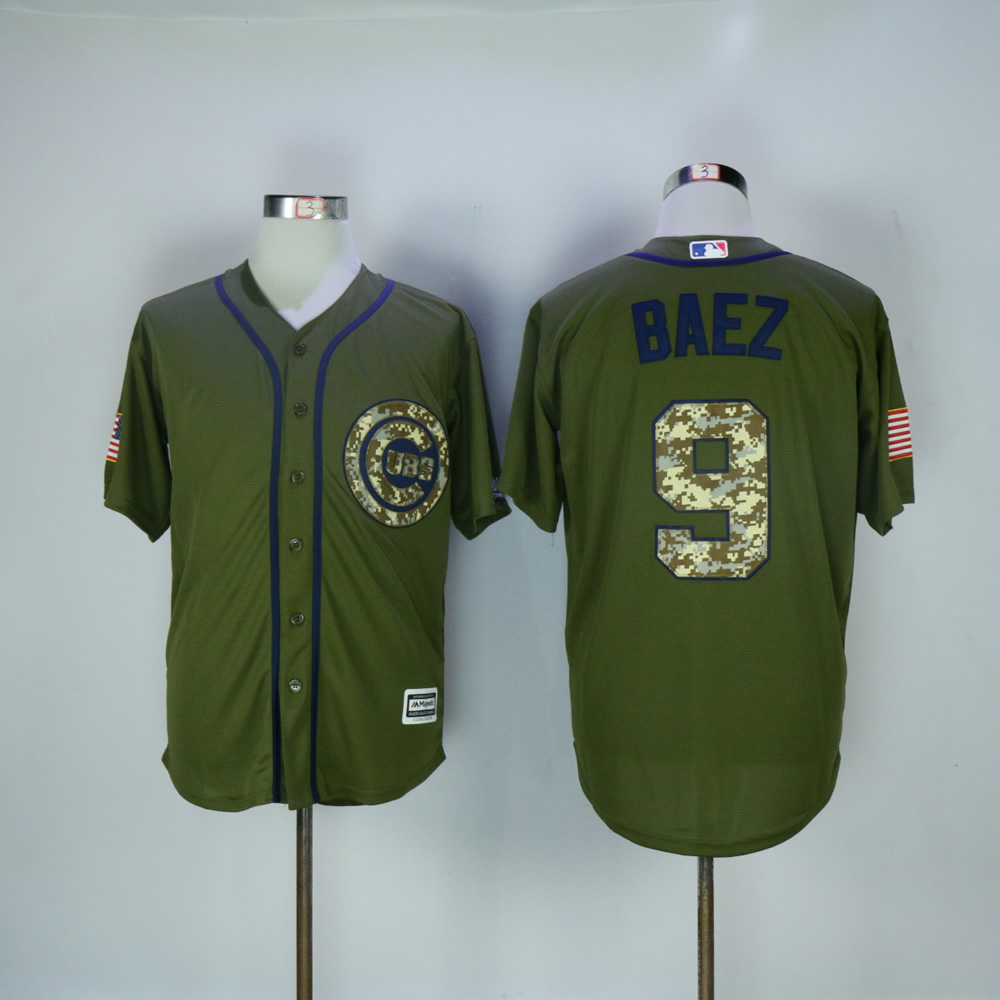Men Chicago Cubs 9 Baez Green MLB Jerseys