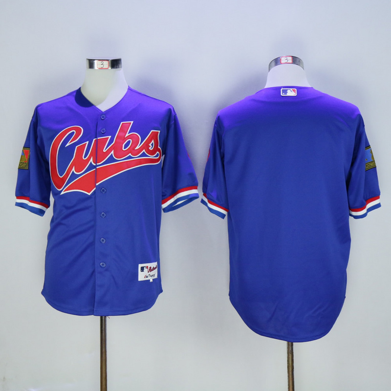 Men Chicago Cubs Blank Blue Throwback 1994 MLB Jerseys