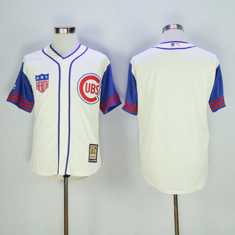 Men Chicago Cubs Blank Cream Throwback 1942 MLB Jerseys