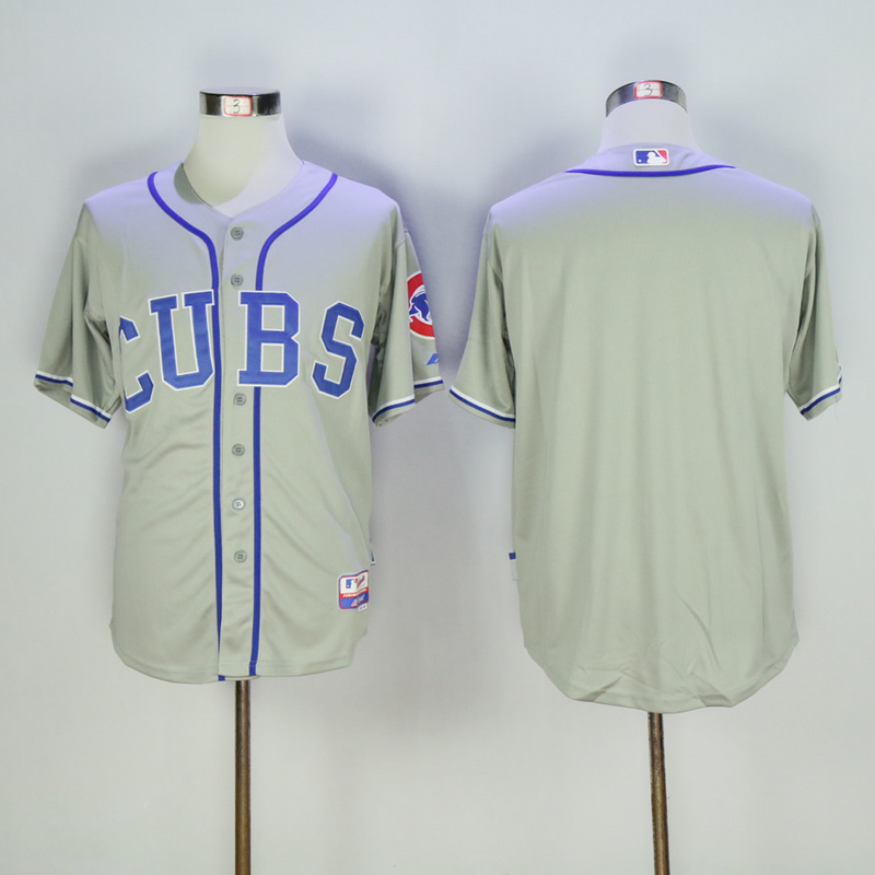 Men Chicago Cubs Blank Grey MLB Jerseys