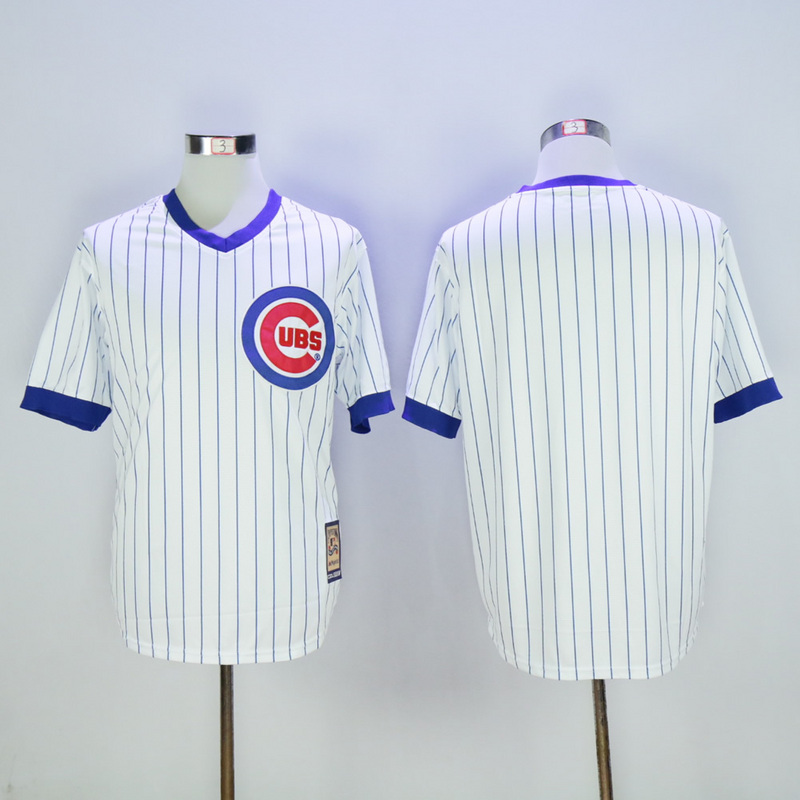 Men Chicago Cubs Blank White 1988 MLB Jerseys