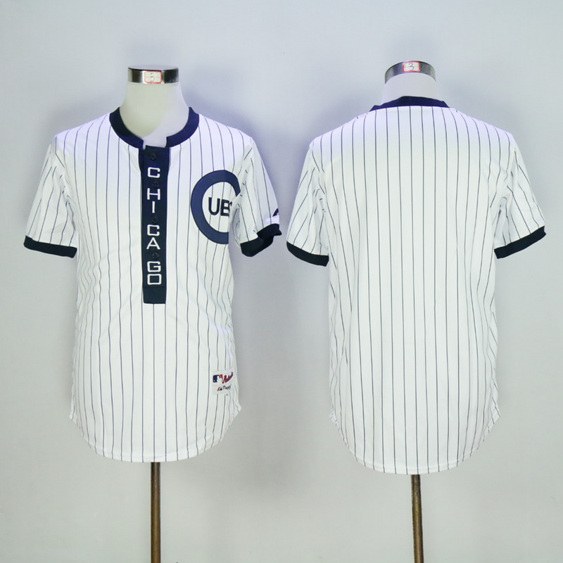 Men Chicago Cubs Blank White Throwback 1909 MLB Jerseys