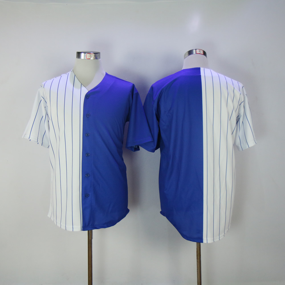 Men Chicago Cubs Blank blue white Split version MLB Jerseys