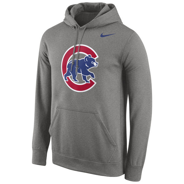 Men Chicago Cubs Nike Logo Performance Pullover Hoodie Gray