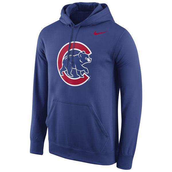 Men Chicago Cubs Nike Logo Performance Pullover Hoodie Royal
