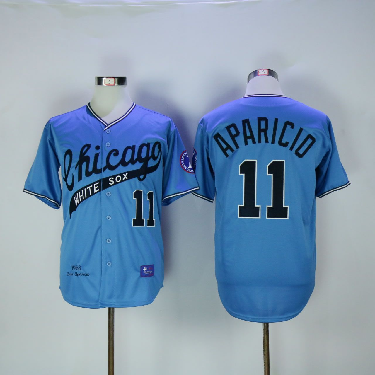 Men Chicago White Sox 11 Aparicio Blue Throwback MLB Jerseys