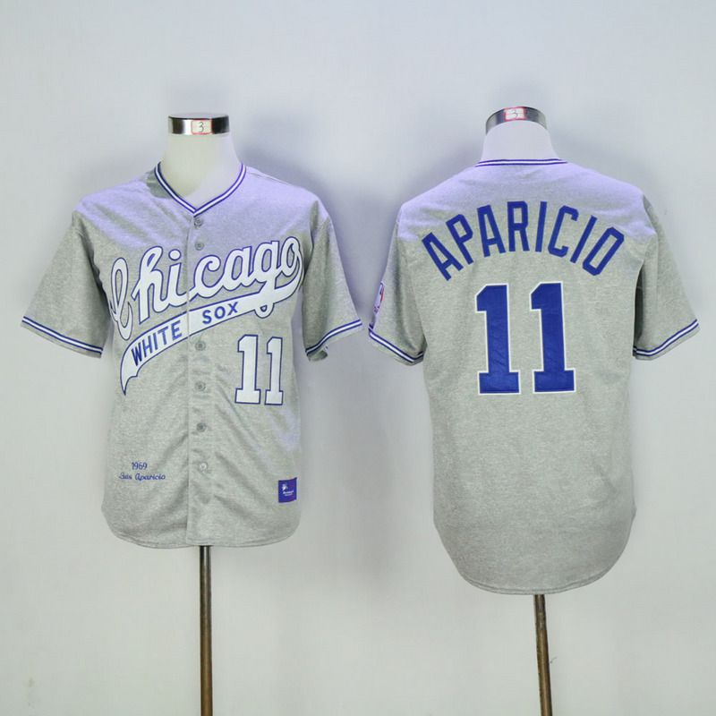 Men Chicago White Sox 11 Aparicio Grey Throwback 1969 MLB Jerseys