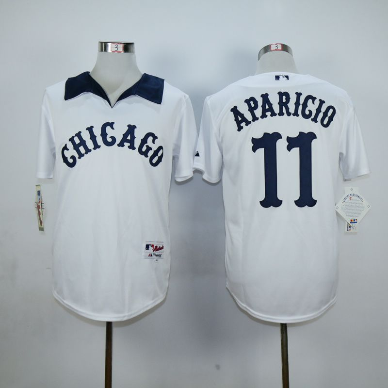 Men Chicago White Sox 11 Aparicio White Throwback MLB Jerseys