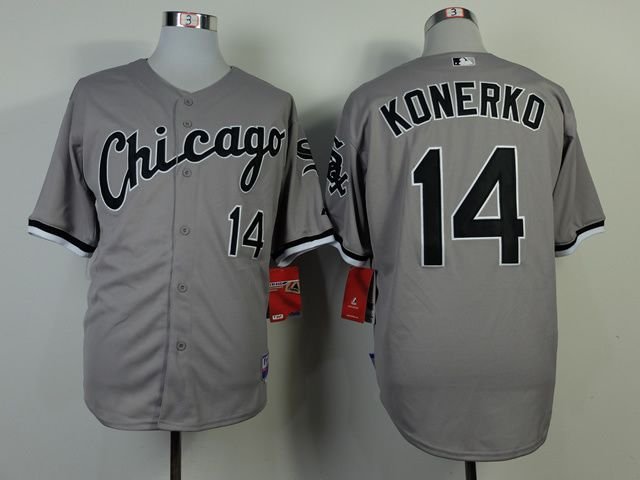 Men Chicago White Sox 14 Konerko Grey Throwback MLB Jerseys