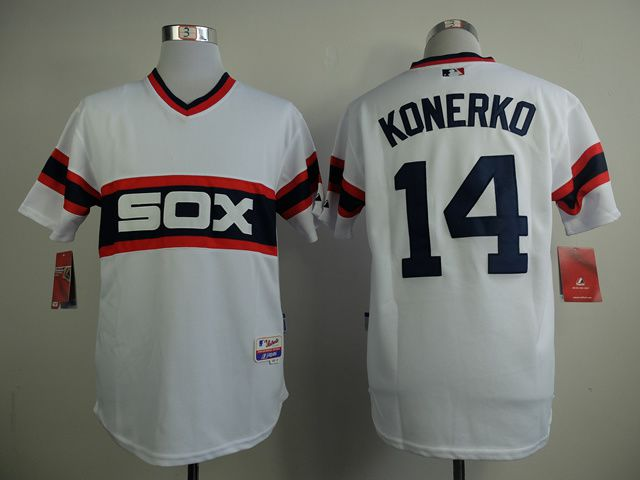 Men Chicago White Sox 14 Konerko White MLB Jerseys