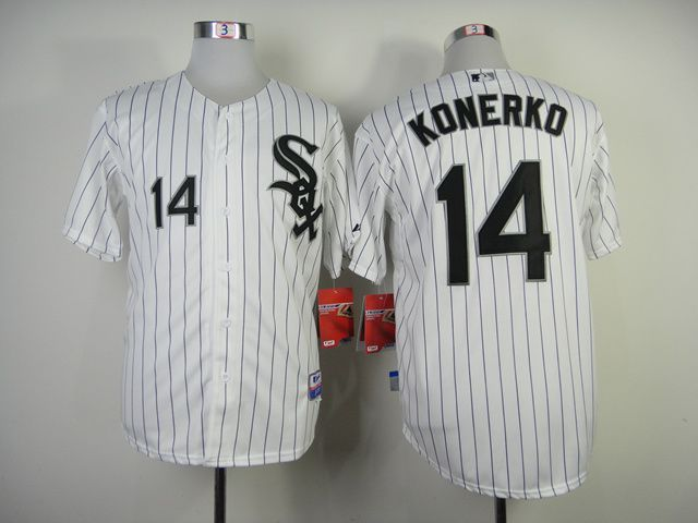 Men Chicago White Sox 14 Konerko White black MLB Jerseys