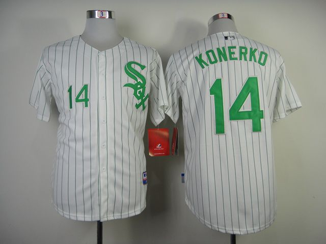 Men Chicago White Sox 14 Konerko White green MLB Jerseys