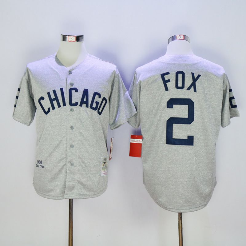 Men Chicago White Sox 2 Fox Grey Throwback 1960 MLB Jerseys