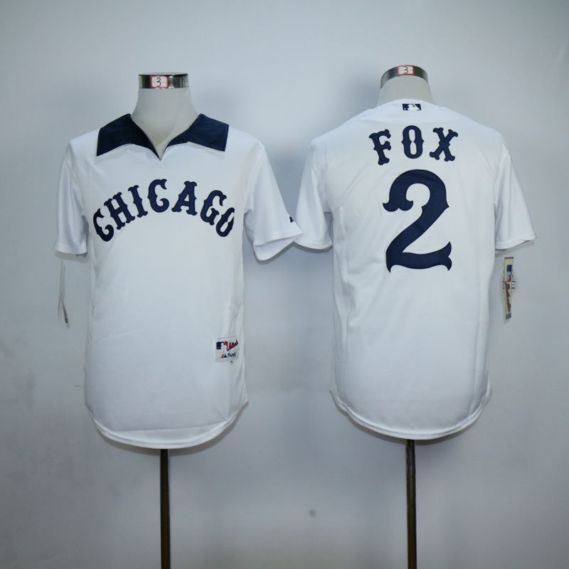 Men Chicago White Sox 2 Fox White Throwback MLB Jerseys