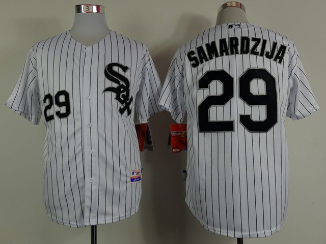 Men Chicago White Sox 29 Samardzija White MLB Jerseys