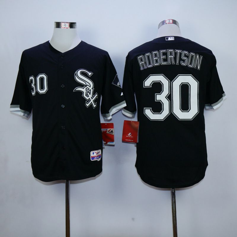 Men Chicago White Sox 30 Robertson Black MLB Jerseys