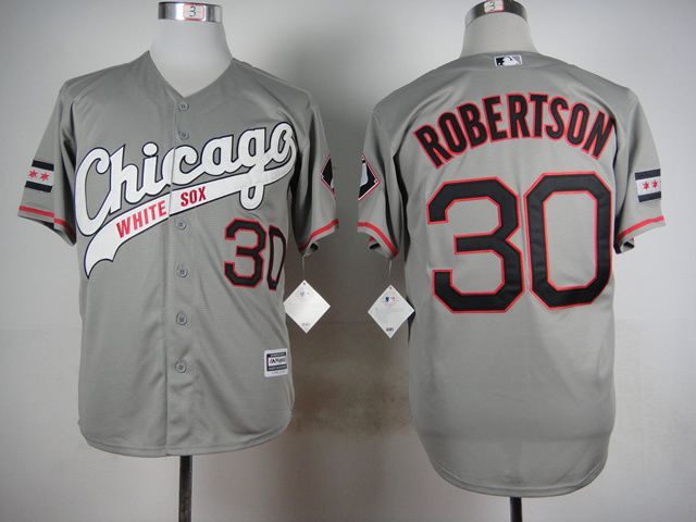 Men Chicago White Sox 30 Robertson Grey MLB Jerseys