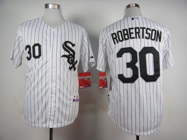 Men Chicago White Sox 30 Robertson White MLB Jerseys