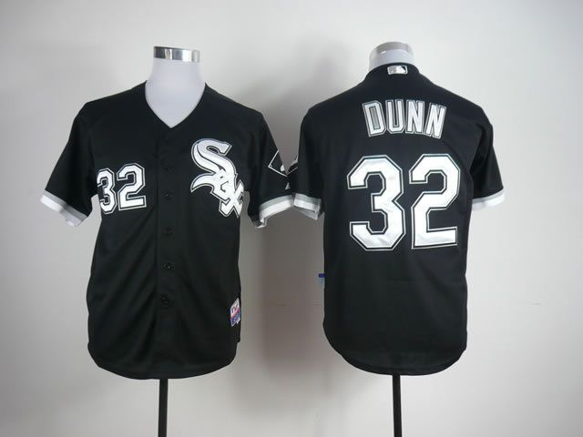 Men Chicago White Sox 32 Dunn Black MLB Jerseys