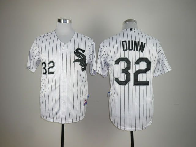 Men Chicago White Sox 32 Dunn White MLB Jerseys