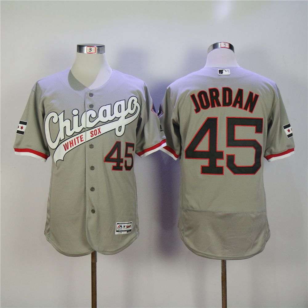 Men Chicago White Sox 45 Jordan Grey MLB Jerseys