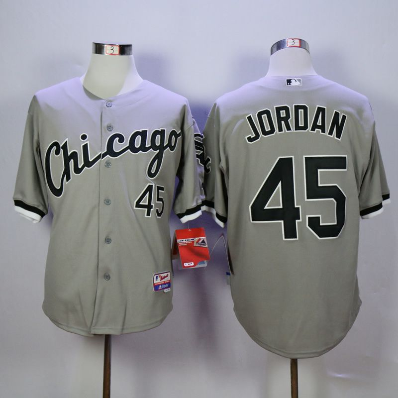 Men Chicago White Sox 45 Jordan Grey Throwback MLB Jerseys