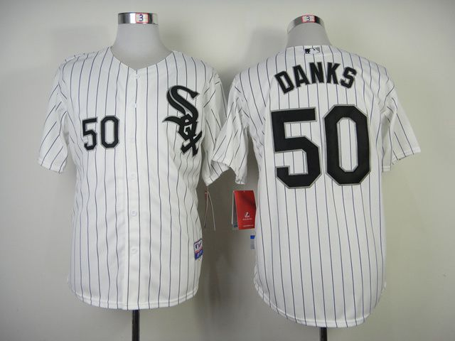 Men Chicago White Sox 50 Danks White black MLB Jerseys