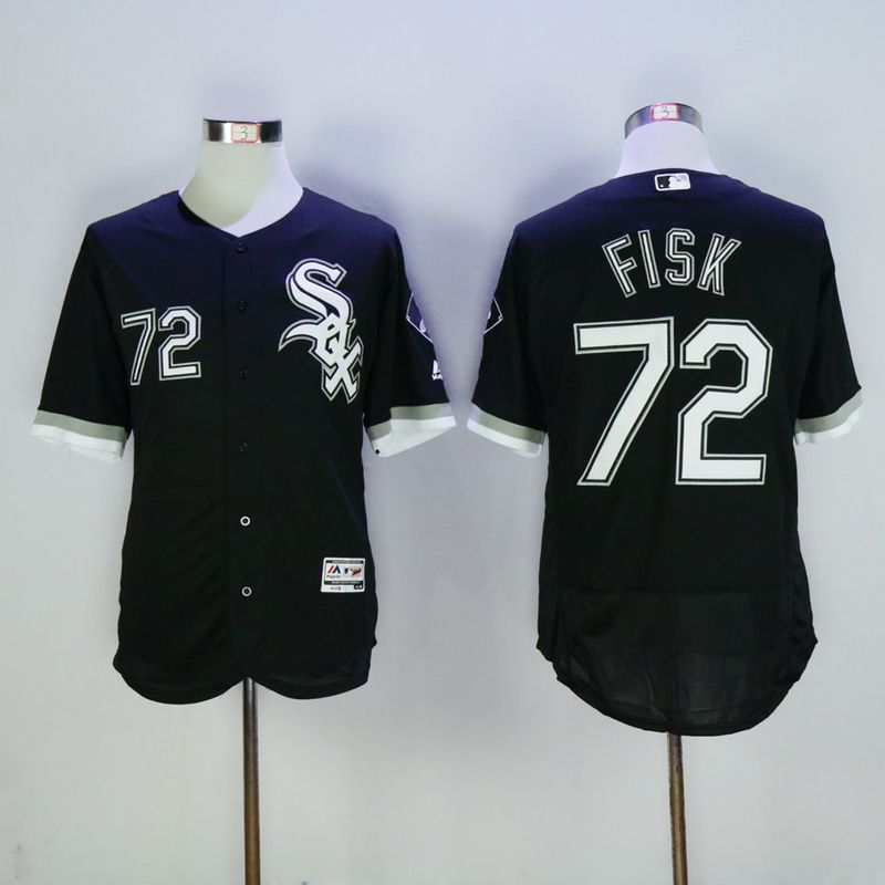 Men Chicago White Sox 72 Fisk Black MLB Jerseys
