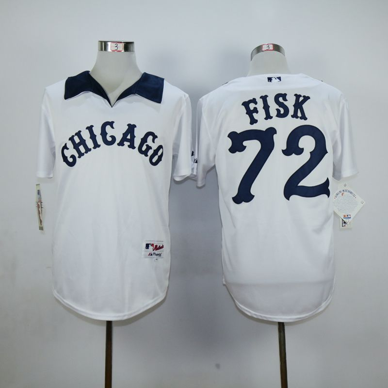 Men Chicago White Sox 72 Fisk White MLB Jerseys