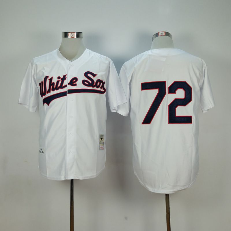 Men Chicago White Sox 72 Fisk White Throwback 1990 MLB Jerseys