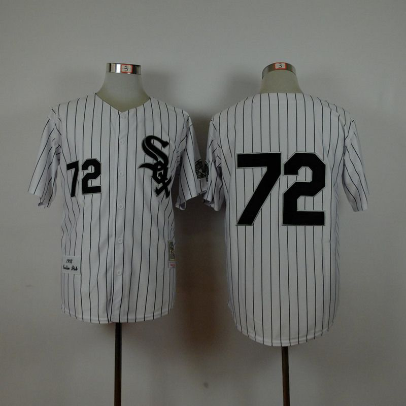 Men Chicago White Sox 72 Fisk White Throwback 1993 MLB Jerseys