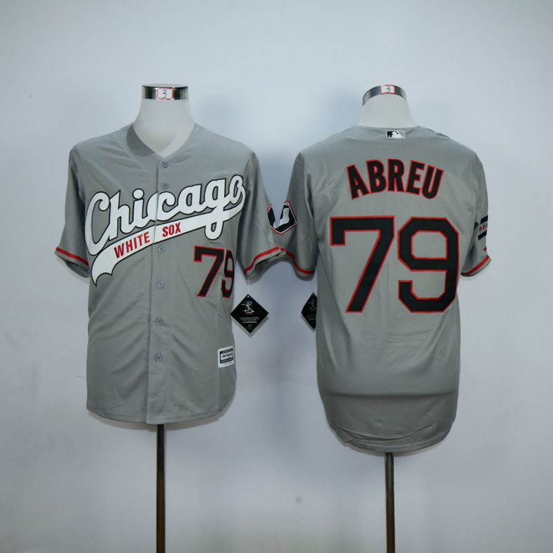 Men Chicago White Sox 79 Abreu Grey MLB Jerseys