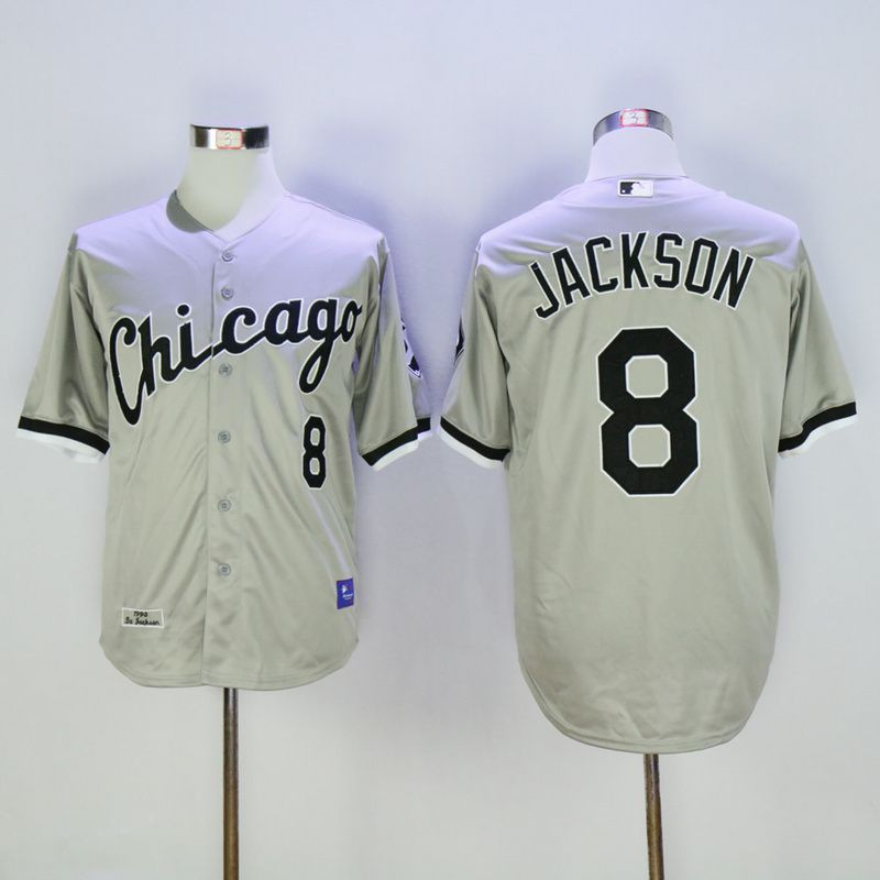 Men Chicago White Sox 8 Jackson Grey MLB Jerseys