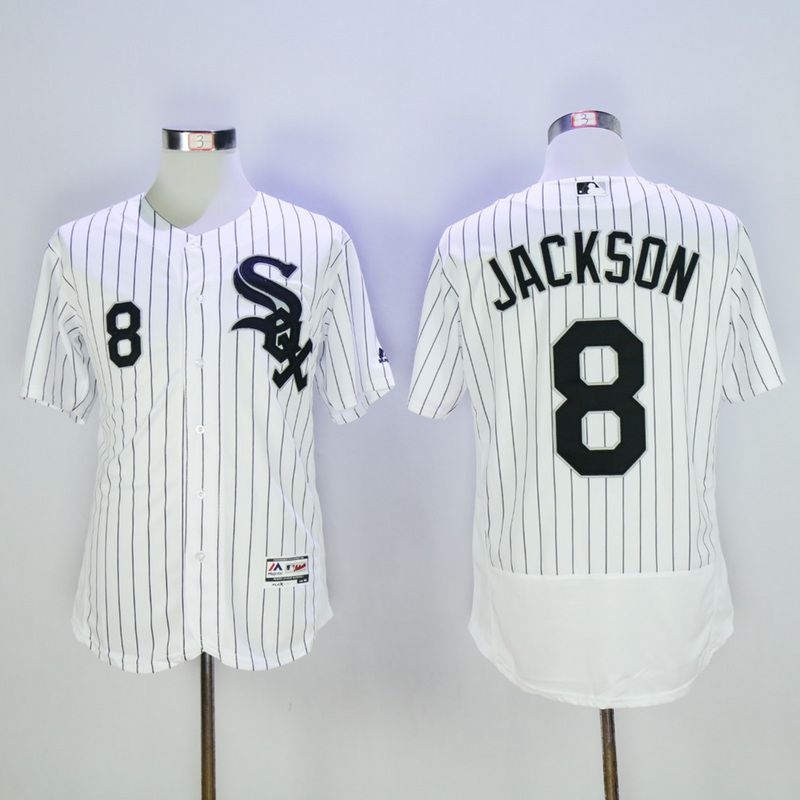 Men Chicago White Sox 8 Jackson White Throwback Elite MLB Jerseys