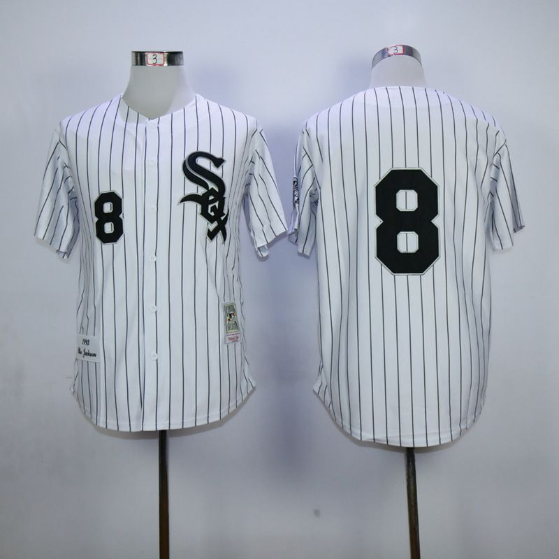 Men Chicago White Sox 8 Jackson White Throwback MLB Jerseys