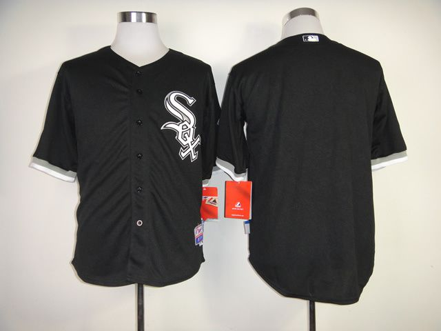 Men Chicago White Sox Blank Black MLB Jerseys1